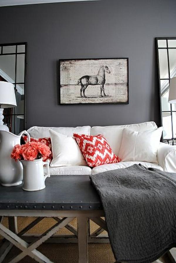 Wohnzimmer Blau Grau Rot Fein On In Kreative Und Schwarz Verwandeln 5