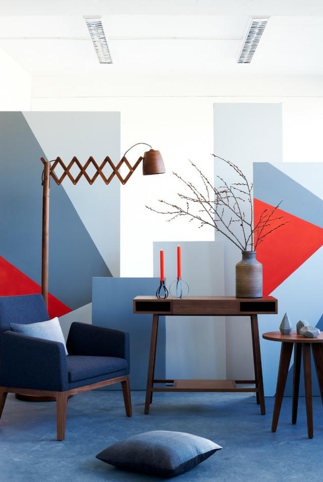 Wohnzimmer Blau Grau Rot Herrlich On In Modernes Wandgestaltung Rote Blaue Muster 6