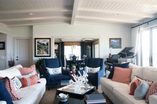 Wohnzimmer Blau Grau Rot Zeitgenössisch On überall Innenarchitektur Ehrfürchtiges 9