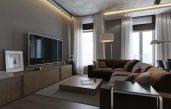 Wohnzimmer Braun Grau