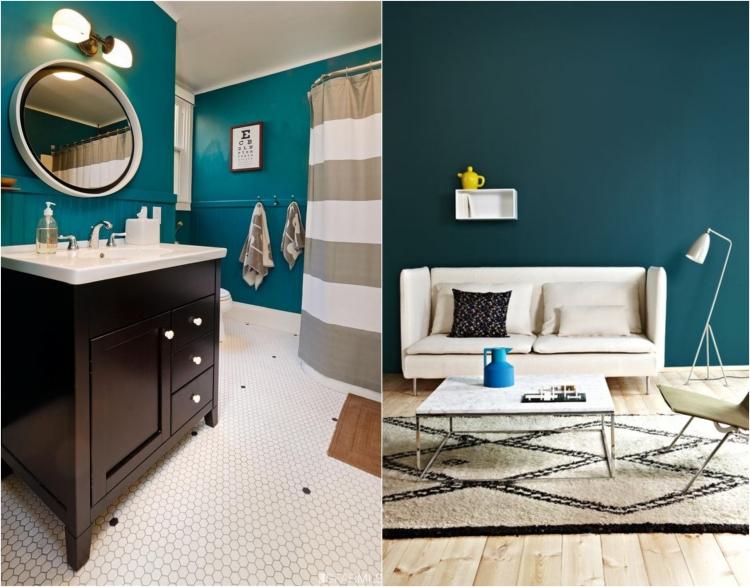 Wohnzimmer Ideen Petrol Fein On Und Wandfarbe Wirkung Für 9