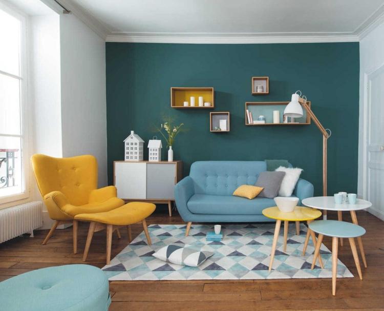 Wohnzimmer Ideen Petrol Herrlich On In Wandfarbe Wirkung Und Für 1