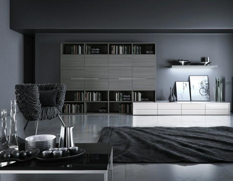 Wohnzimmer Ideen Schwarz Weiss Grau Unglaublich On In Bezug Auf Schönefesselnd Modern Weiß 8