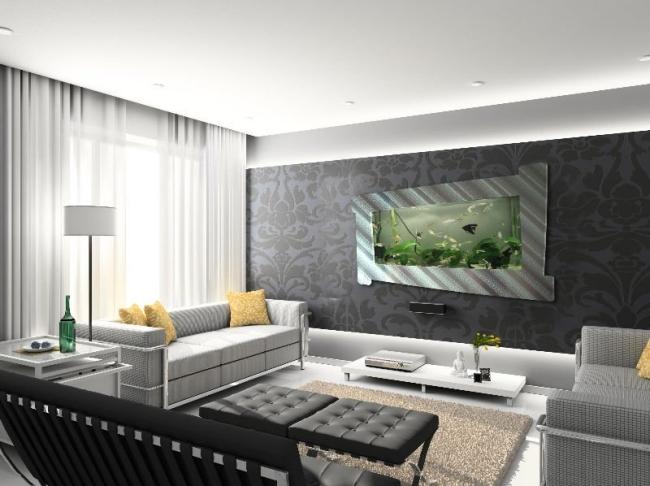 Wohnzimmer Ideen Wand Erstaunlich On In Rahmen Aquarium 108 Designs Zum Integrieren 4