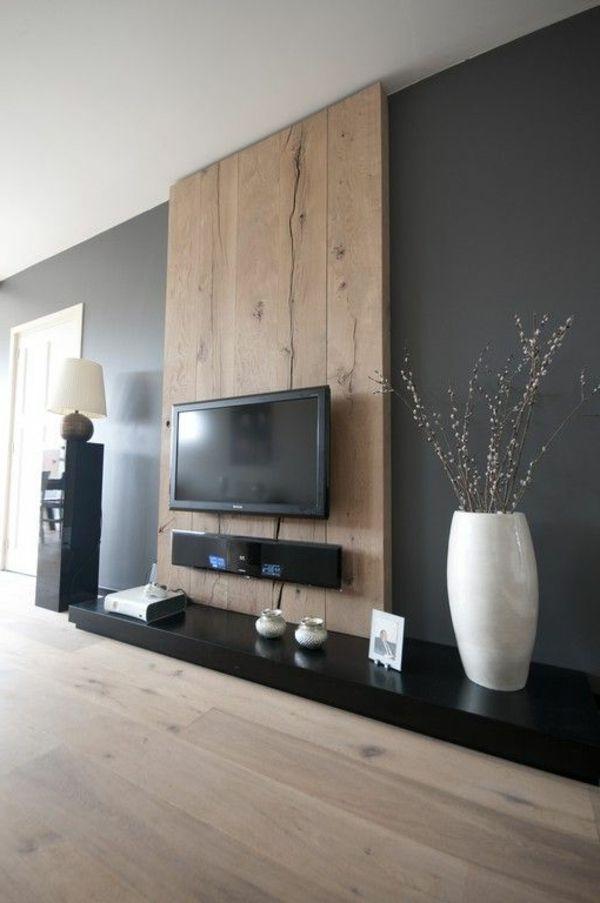 Wohnzimmer Ideen Wand Exquisit On In Die Besten 25 Tv Auf Pinterest Holz 8