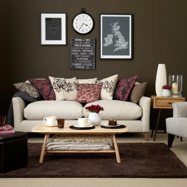 Wohnzimmer In Braun Und Weiss Nett On Weiß Sofa Rosa Rot Farbe Pinterest 8