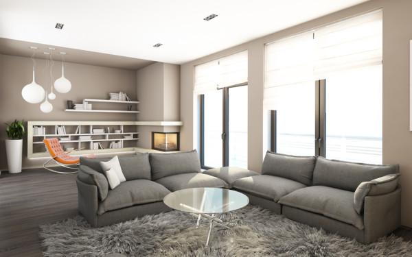 Wohnzimmer In Braunweißgrau Einrichten