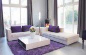 Wohnzimmer In Grau Weiß Lila