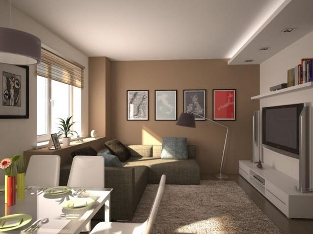 Wohnzimmer Mit Küche Braun Beige