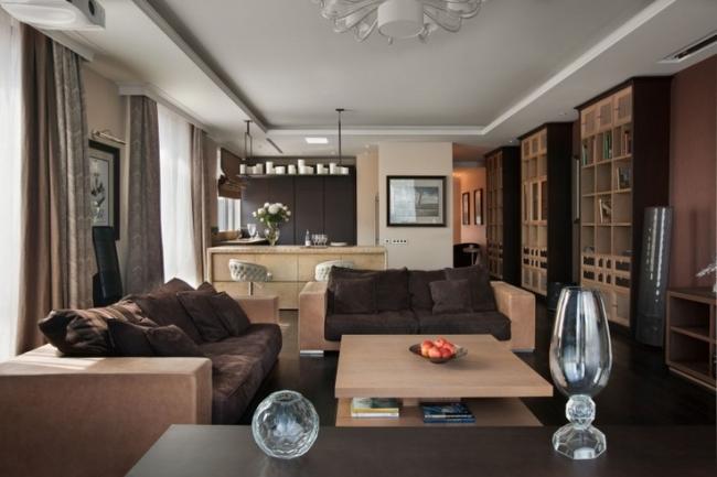 Wohnzimmer Mit Küche Braun Beige Zeitgenössisch On In Bezug Auf Und Einem Raum Gestaltungsideen 3