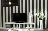 Wohnzimmer Mit Streifen Schwarz Weiß Grau
