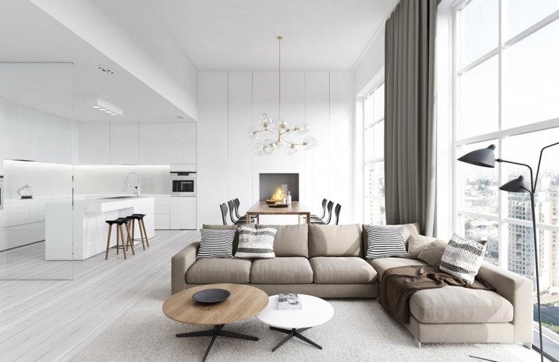 Wohnzimmer Modern Beige On Und Moderne 24 Übernehmen Wohndesign 1