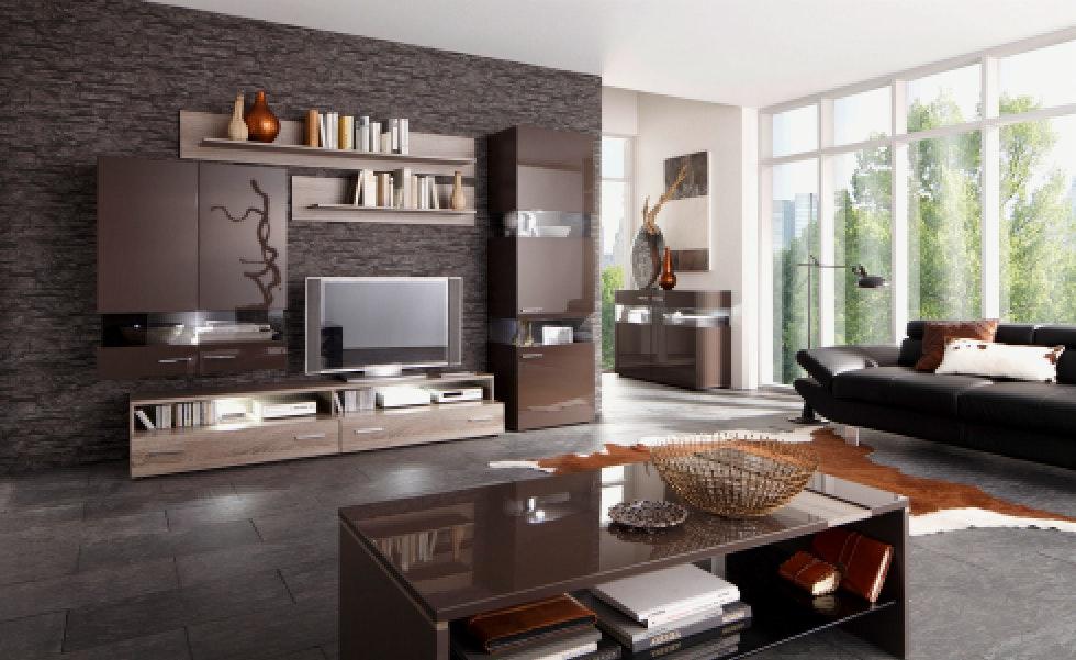 Wohnzimmer Modern Braun Stilvoll On Mit Einzigartige Tapete Plus Tapeten 3
