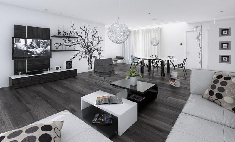 Wohnzimmer Modern Schwarz Weiß