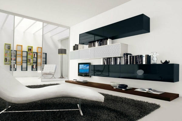 Wohnzimmer Modern Schwarz Weiß Glänzend On In Bezug Auf Weiss Www Sieuthigoi Com 4