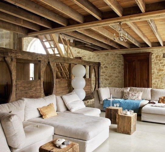 Wohnzimmer Rustikal Modern Einzigartig On Für Modernes Mit Steinwänden Und Weißer 7