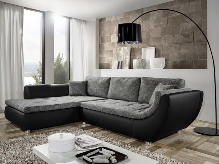 Wohnzimmer Sofa Frisch On Mit Couch Avery 287x196cm Webstoff Anthrazit Kunstleder Schwarz 7