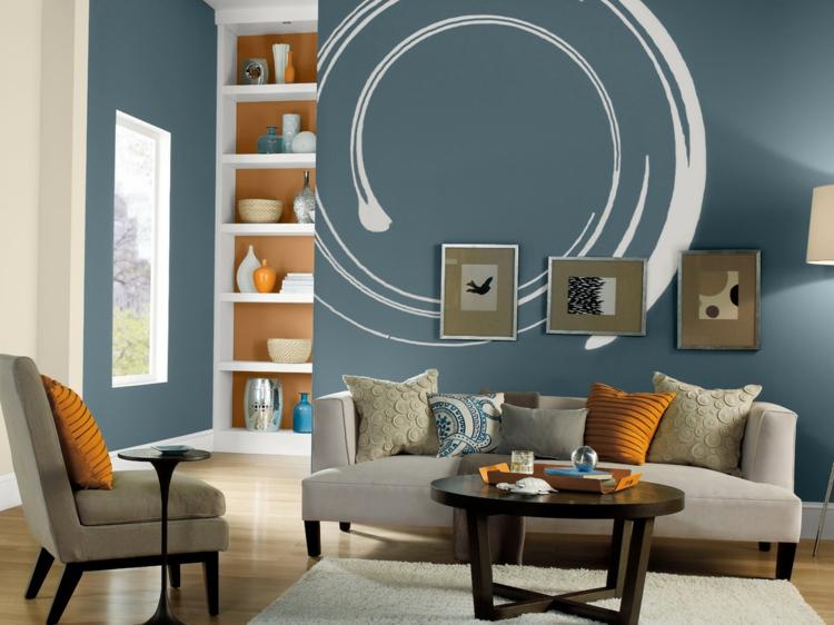 Wohnzimmer Wandfarbe Blau Bescheiden On Beabsichtigt Best Farbe Contemporary House Design Ideas 6