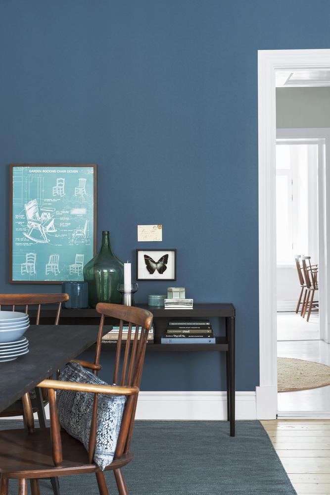 Wohnzimmer Wandfarbe Blau