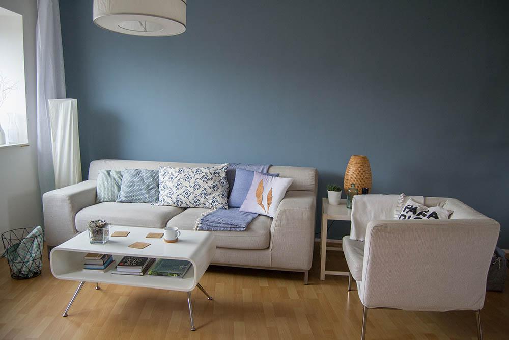 Wohnzimmer Wandfarbe Blau Wunderbar On Mit Makeover 1