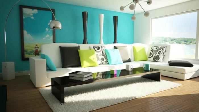 Wohnzimmer Wandgestaltung Farbe Wunderbar On Für Ideen Wandfarben 2