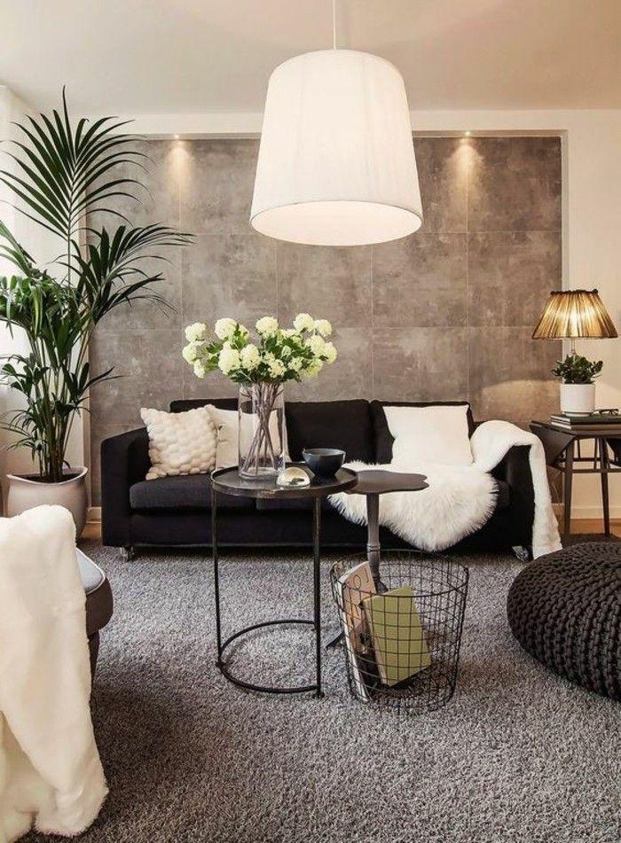 Wohnzimmer Wandgestaltung Schön On Innerhalb Interessante Moderne Graue Akzentwand 2