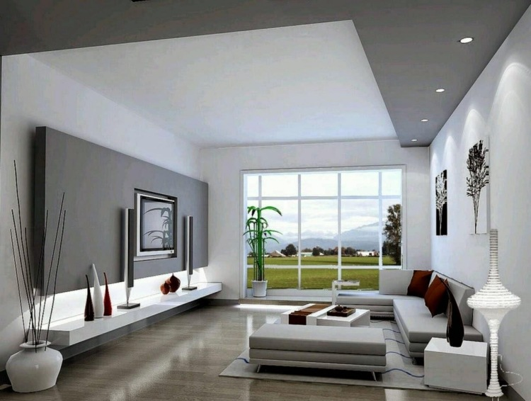 Wohnzimmer Weiß Grau Charmant On Beabsichtigt Schlicht Gehaltenes In Und 1