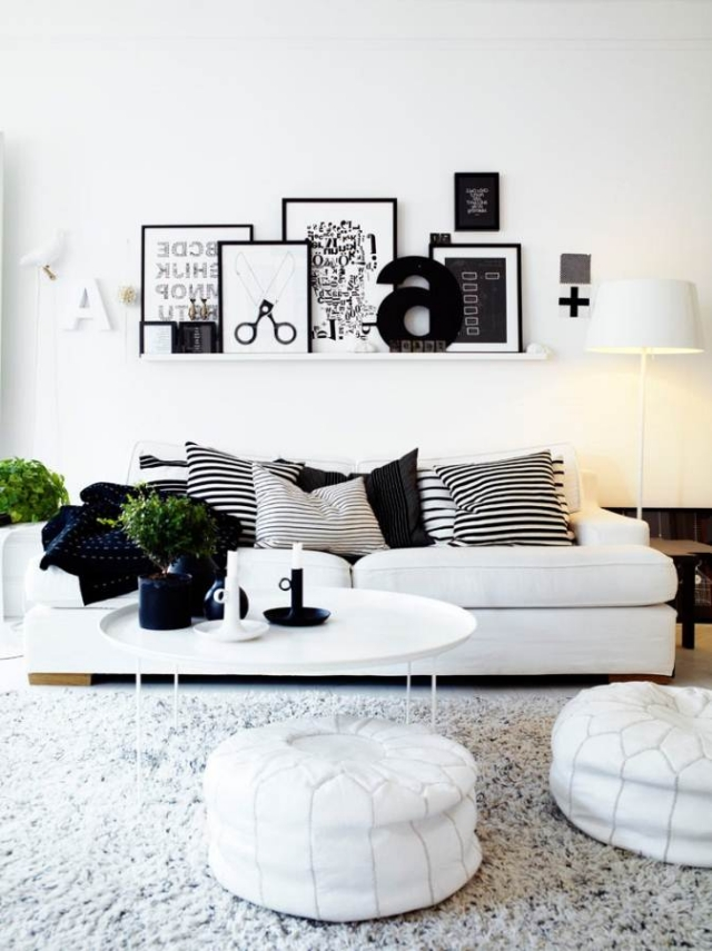 Wohnzimmer Weiß Grau Unglaublich On Und Dekorateur Schwarz Einrichten Ideen In 3 4