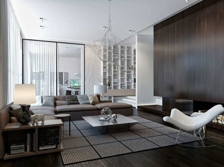 Wohnzimmer Weiß Schwarz Wunderbar On Mit Andere Einrichtung Grau Gut Auf Plus Einrichten 8
