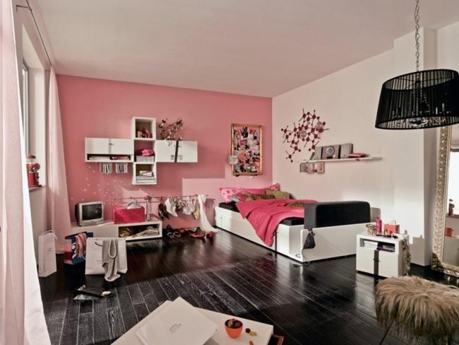 Zimmer Einrichten Ideen Jugendzimmer Einfach On Mit Mädchen Rosa Wand Weiße Möbel Schwarzer Fußboden 2