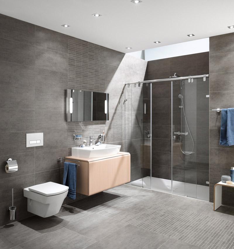 Anthrazit Fliesen Bad Glänzend On Andere Beabsichtigt Badezimmer Grau Und Design 9