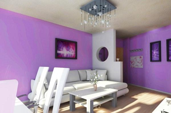 Beispiele Wandfarbe Lila Wohnzimmer Interessant On In Mode Auf Wand 9