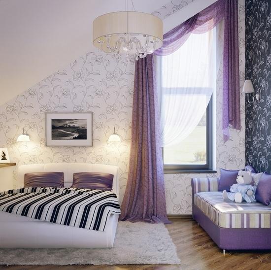Dachschräge Lila Beeindruckend On Andere Innerhalb Schlafzimmer Gestalten 28 Ideen Für Interieur In Fliederfarbe 3