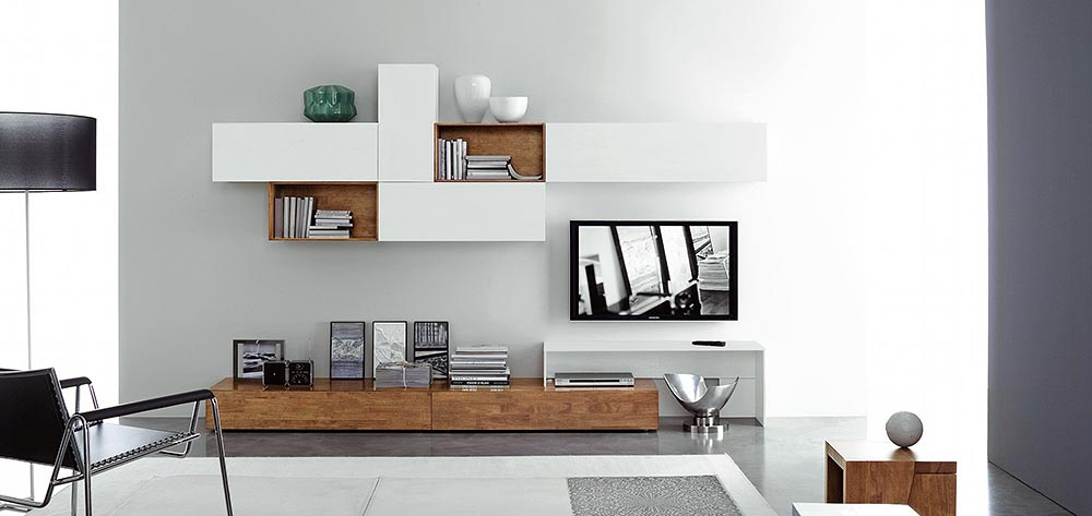 Designer Fernsehwand Holz Exquisit On Andere Auf Popular Wohnwande Design Minimalistisch Salas Multimedia Fresko 3