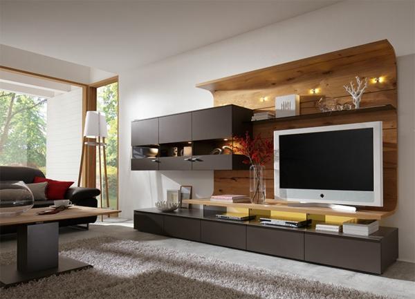Designer Fernsehwand Holz Kreativ On Andere Mit Wohnwand Modern Schwarz Pergameo Com 1