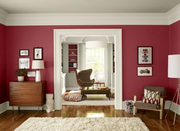 Dunkelrote Wandfarbe Für Wohnzimmer Bemerkenswert On In Bezug Auf Beere Trendfarbe Benjamin Moore 6