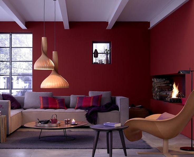 Dunkelrote Wandfarbe Für Wohnzimmer