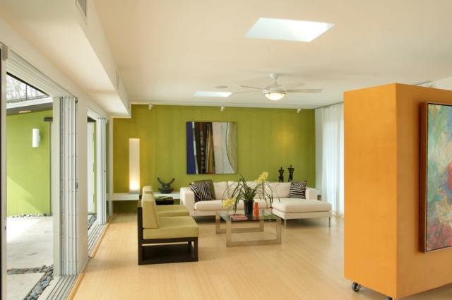 Farbgestaltung Wohnzimmer Streifen Kreativ On Für 28 Ideen In Grün 8