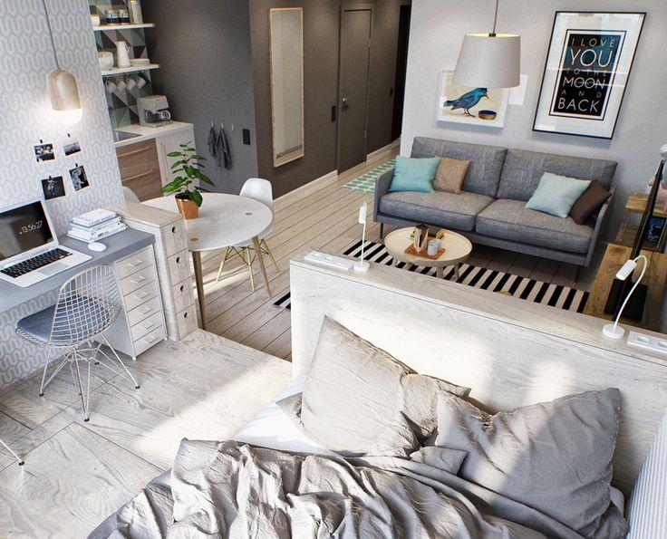 Ideen 1 Zimmer Wohnung Interessant On Beabsichtigt Die Besten 25 Kleine Wohnungen Auf Pinterest