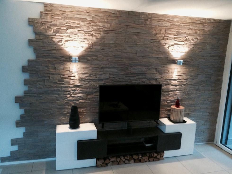 Kamin Wandgestaltung Erstaunlich On Andere Auf Gut Wohnzimmer Modern Mit Design 7