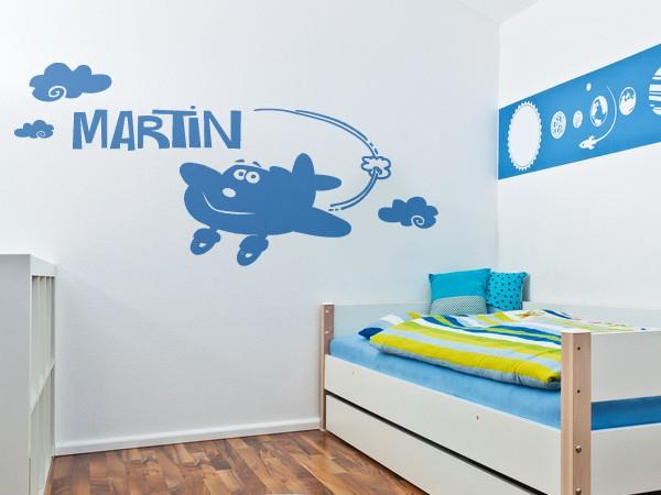 Kinderzimmer Flugzeug Herrlich On Andere Auf Fur Wandtattoo Wunschname Mit 6