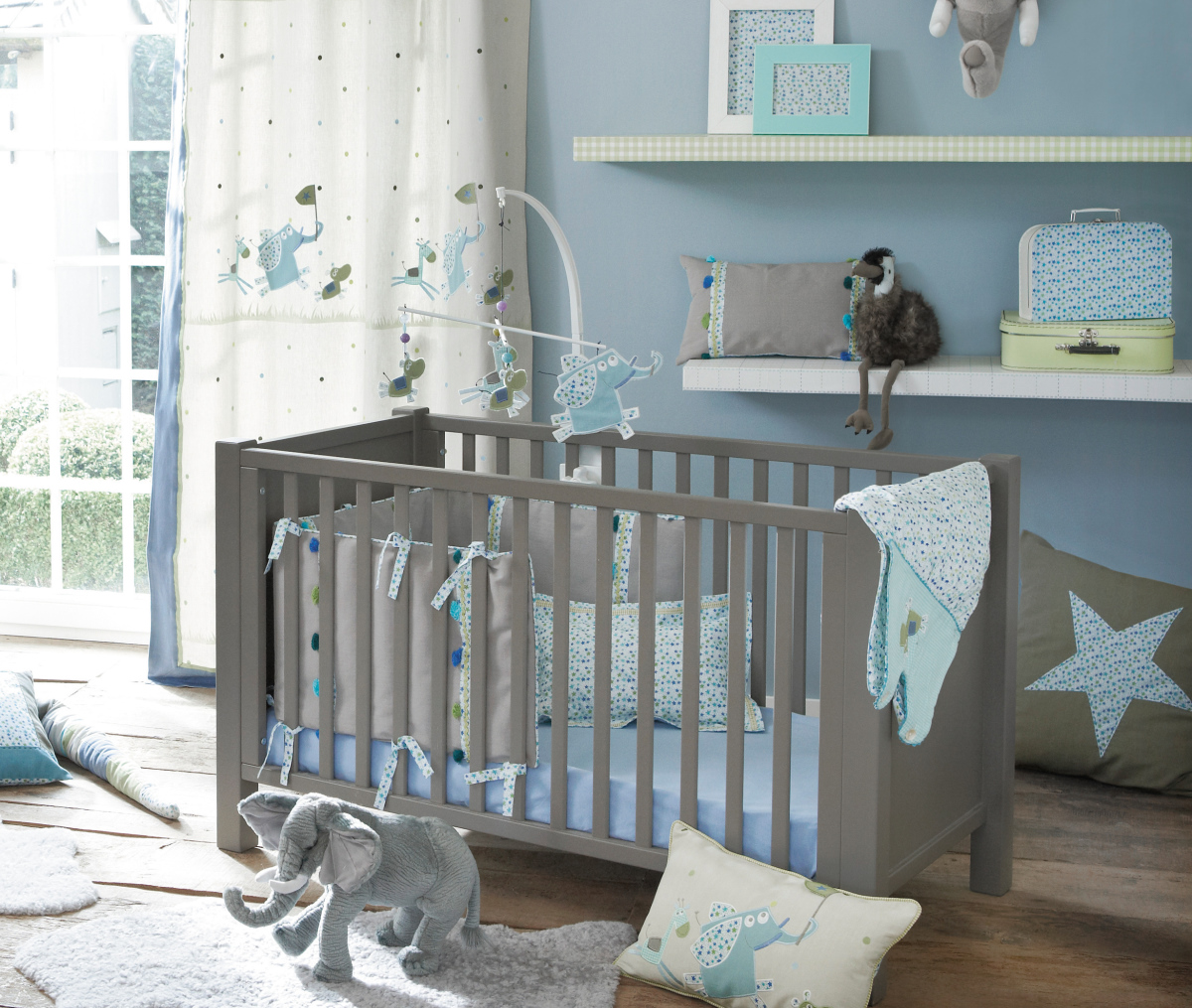Kinderzimmer In Grau Bescheiden On Andere Beabsichtigt Camengo Kinderstoff Sternchen Blau Lollipops Bei Fantasyroom 8