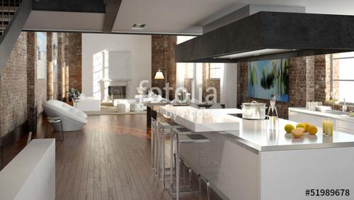 Küche Luxus Herrlich On Andere Beabsichtigt In Einem Loft Stockfotos Und Lizenzfreie Bilder Auf 6