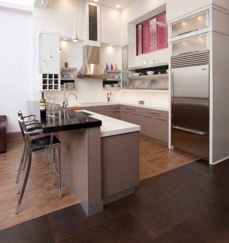 Küchen Halbinsel Form Modern On Andere Für Küche In U Barhocker Taupe Weiss Kombination 9