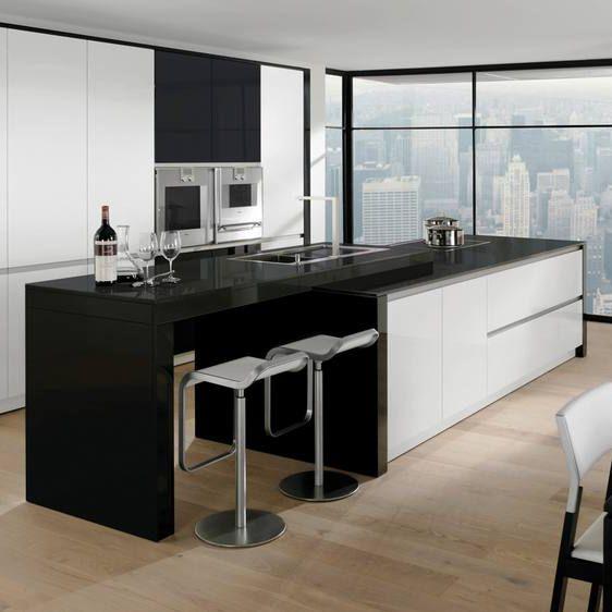 Küchen Holz Modern Mit Kochinsel Exquisit On Moderne Küche Edelstahl Lackiertes MODERN 7