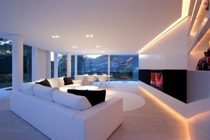 Luxus Wohnzimmer Modern Mit Kamin Ausgezeichnet On überall Edles In Villa Am See Galileo Pinterest 7