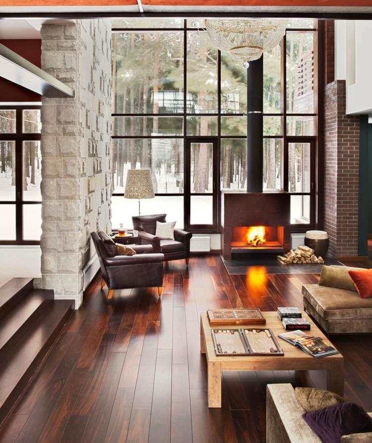 Modern Rustikale Wohnzimmer Mit Kamin Ausgezeichnet On Und Charmant Auf 7