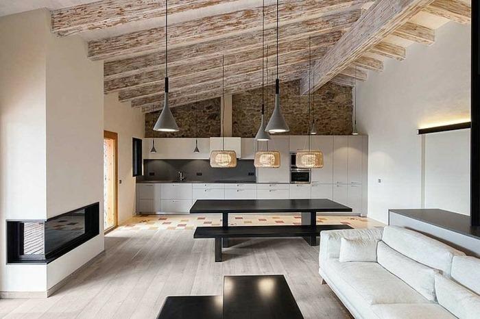 Modern Rustikale Wohnzimmer Mit Kamin Perfekt On Für Angenehm Zusammen 2