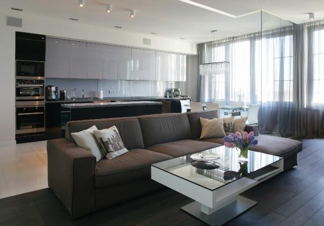 Moderne Küche Mit Essecke Und Wohnzimmer Bemerkenswert On Modern Kreativ 1