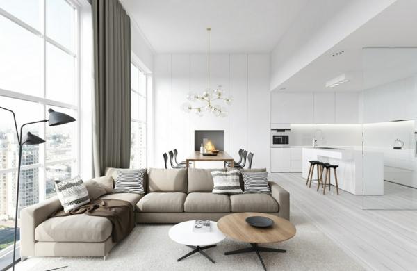 Moderne Küche Mit Essecke Und Wohnzimmer Erstaunlich On Modern Auf Kreativ 6